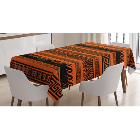 Toga Party Tablecloth, Classical Border Ornaments in Ancient Greek Style Grunge Aged Display Print, Rectangular Table Cover for Dining Room Kitchen, 52 X 70 Inches, Orange Black, by Ambesonne