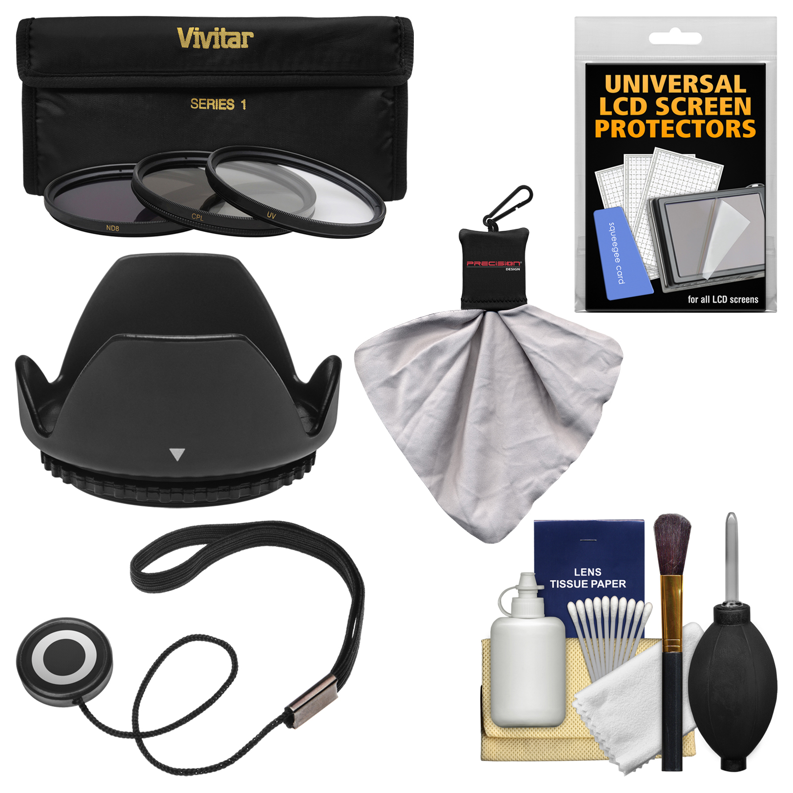 Essentials Bundle for Sony Alpha E-Mount E 16mm f/2.8 Lens with 3 (UV/CPL/ND8) Filters + Hood + Accessory Kit