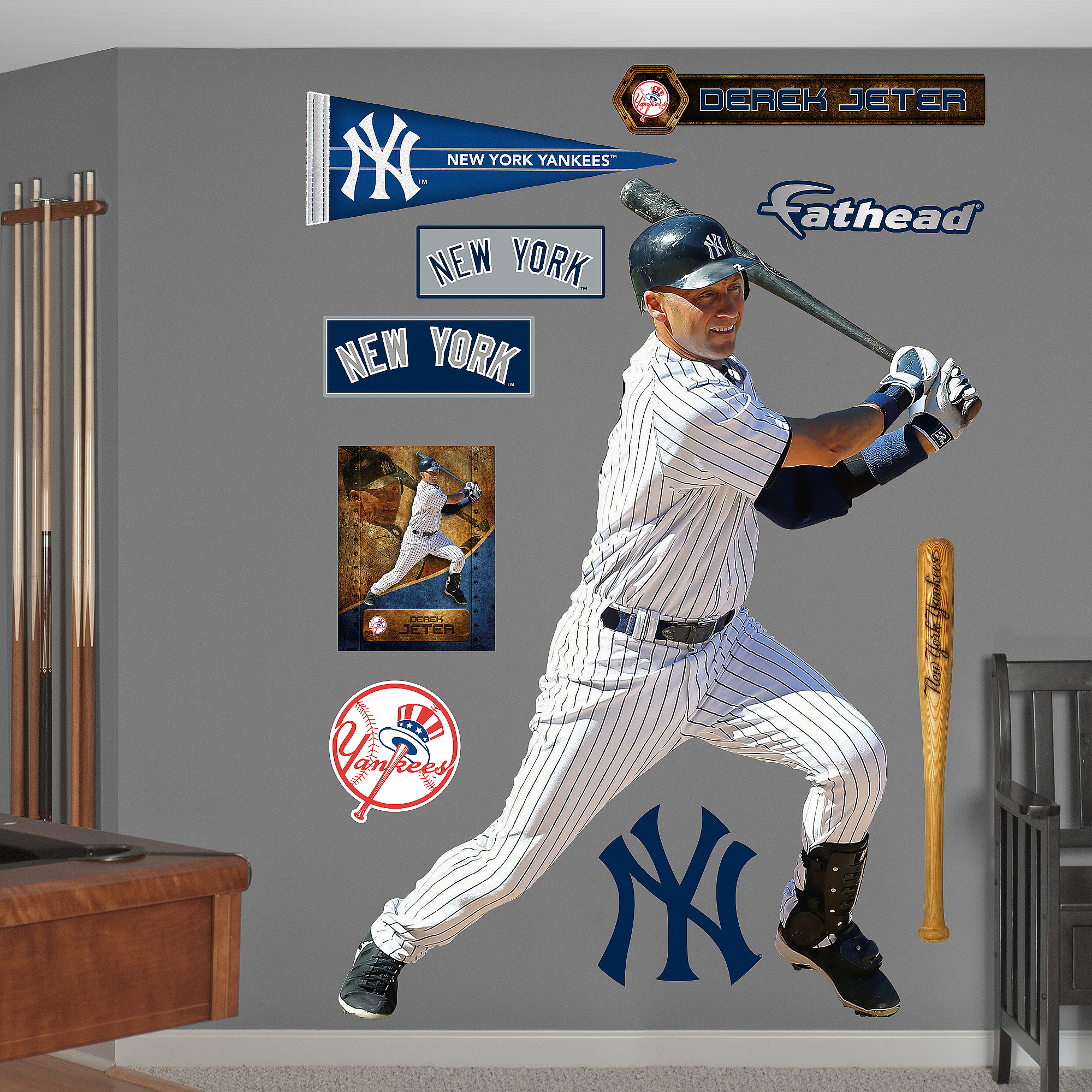 MLB Derek Jeter Swings, Away
