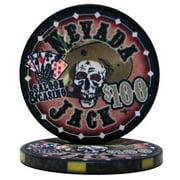 """Roll of 25 $100 Nevada Jack 10 Gram Ceramic Poker Chip"" by BryBelly"
