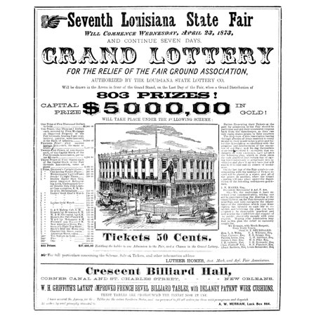 Louisiana State Fair 1873 Npage From Daily Varieties Theatre Programme 1873 Featuring An Advertisement For The Lottery Held At The Seventh Louisiana State Fair In April 1873 Rolled Canvas Art     18 X