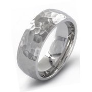 Coastal Jewelry Stainless Steel Brushed Finish Hammered Ring (8mm)