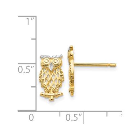 14k or jaune w / Boucles d'oreilles Rhodium w / Rhodium Owl post D?coupe polie (6x13mm) - image 2 de 3