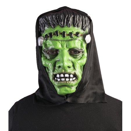 Promo Hooded Monster Green Frankenstein Mask Halloween Costume Accessory Adult - Frankenstein Halloween Mask