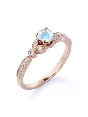 1.25 ct - Round Real Rainbow Moonstone Ring - June Birthstone - Vintage Engagement Ring - 18K Rose Gold Over Silver