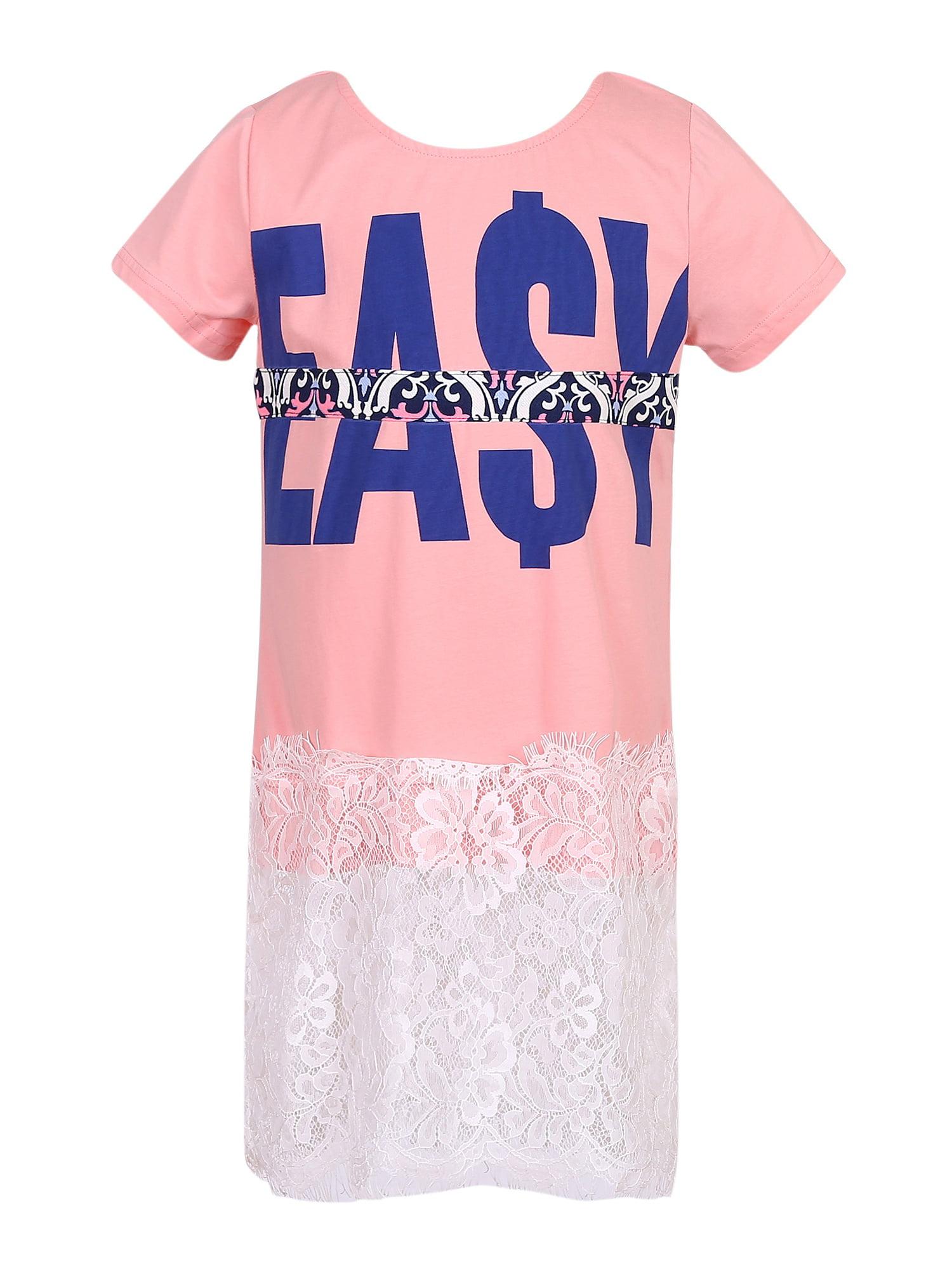 Richie House Girls' Medium Knit T-Shirt with Lace Bottom RH2476