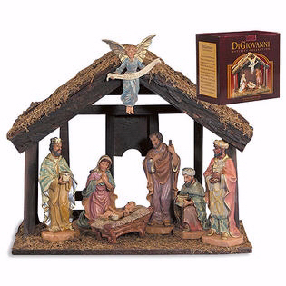 Nativity w/Wood Stable Set (7 Pc)