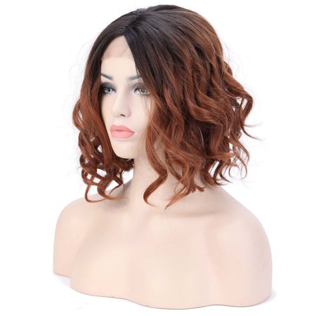 S-noilite Fashion Grey Pink Lace Wig Mixed Color Glueless Long Natural Wavy Middle Part Synthetic Lace Front Wigs For Women Half Hand Tied Heat Resistant ,Natural -