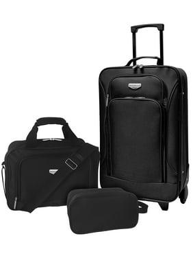 Travelers Club 3 pc. Euro Carry-on Luggage Set. Black