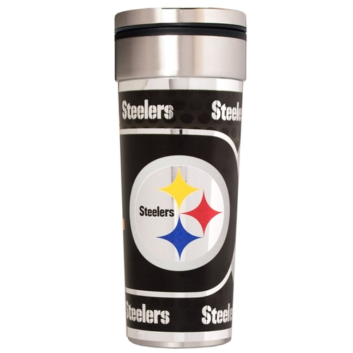 Pittsburgh Steelers 22 oz Stainless Steel Travel Tumbler Metallic Graphics NFL Mug Cup