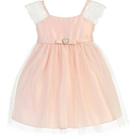 519e9d1b24a Dreamer P - Little Baby Girls Cap Sleeve Satin Lace Little Baby Infant  Toddler Flower Girl Dress Pink XL (S62K1) - Walmart.com