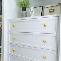 40mm Dia Ceramic Knobs Wardrobe Dresser Door Knobs Pull Handle for DIY Cupboard, Yellow