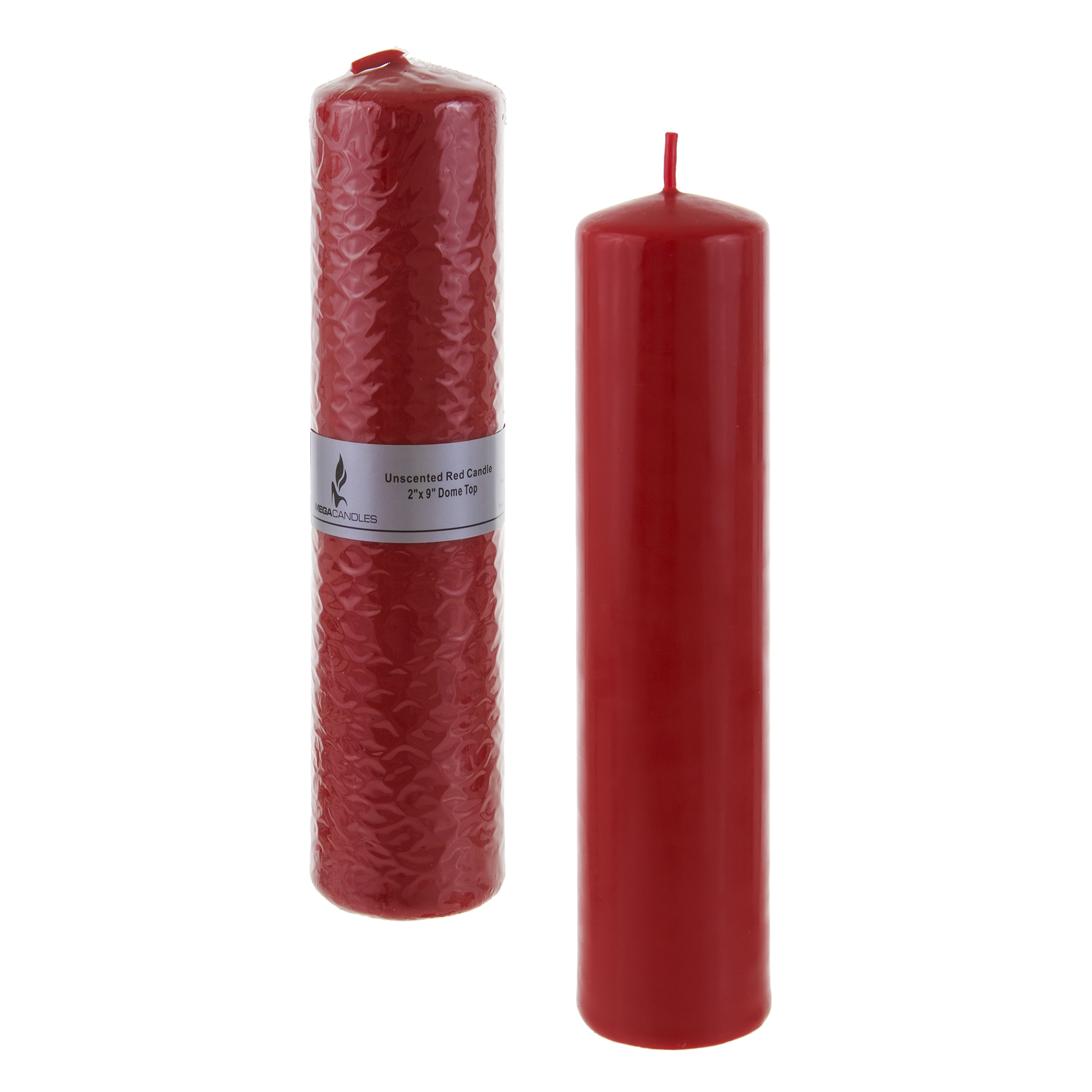 Mega Candles Unscented 2 Inch x 9 Inch Dome Top Pressed Pillar Candle Red by