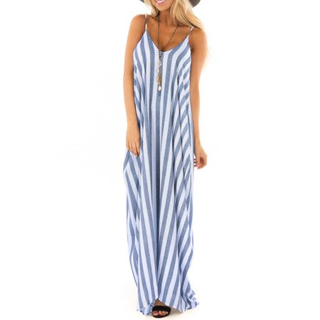 Women Boho Striped Strap Sling Long Maxi Dress V Neck Evening Party Beach Dresses Summer Sundress