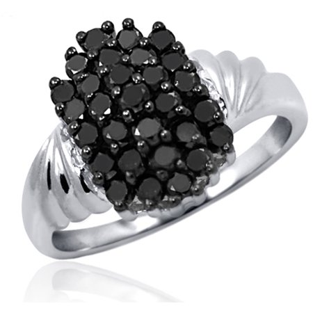 - 1.00 CTW Round cut Black Diamond Rectangle Shape Sterling Silver Ring