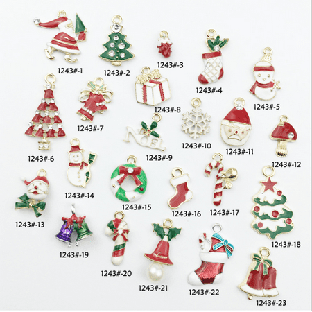 Juslike 23pcs Christmas Pendant Charms Assorted Charms DIY Jewelry Craft Making Accessories for Necklace Bracelet (Necklace Bracelet Pierced Earring)