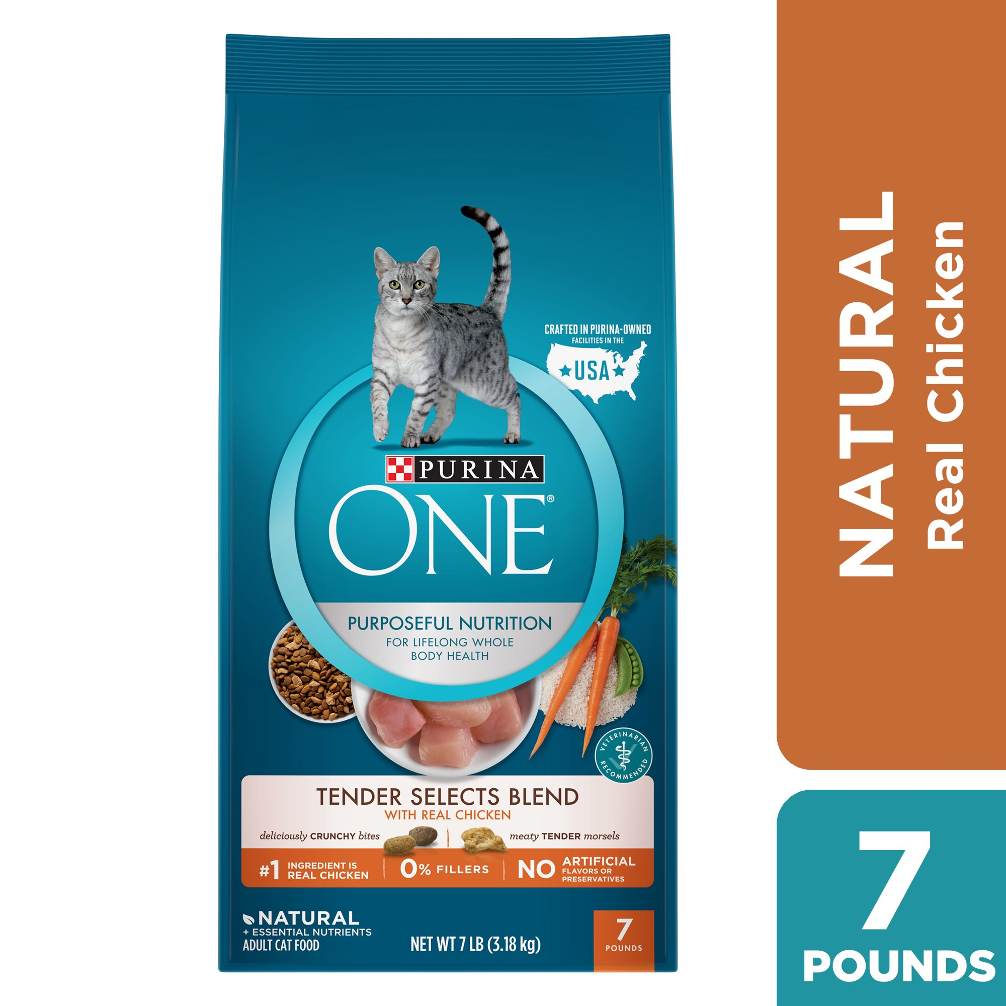 Purina One Natural Dry Cat Food Tender Selects Blend With Real Chicken 7 Lb Bag Walmart Com Walmart Com