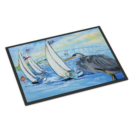 Blue Heron Sailboats Dog River Bridge Door Mat