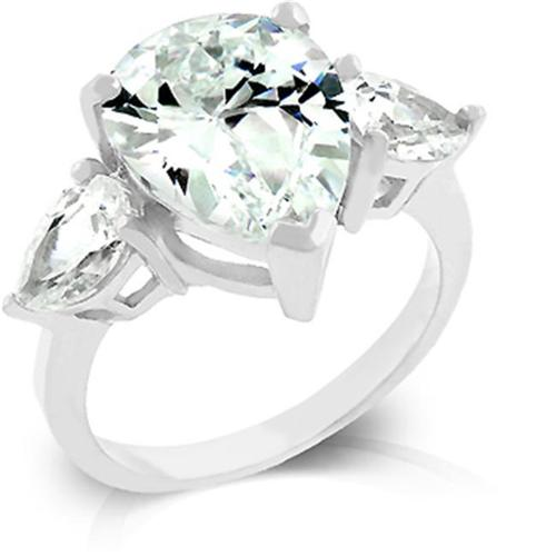 Kate Bissett R07604R-C01-09 Triplet anniversary ring with Pair Shaped CZ.  5 Carat Center Stone.  Silver Tone.  - Size 9