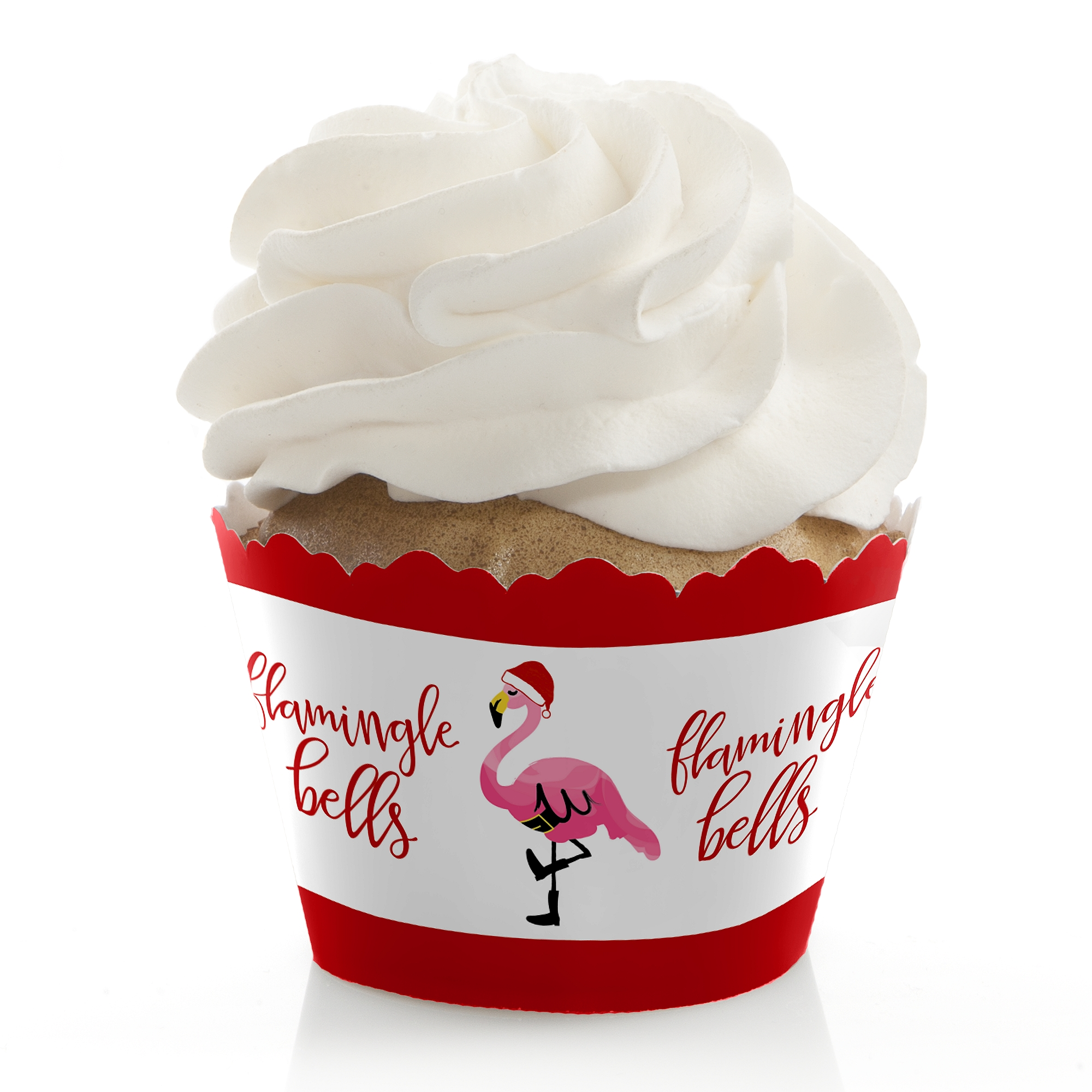 Flamingle Bells - Tropical Flamingo Christmas Party Cupcake Wrappers - Set of 12
