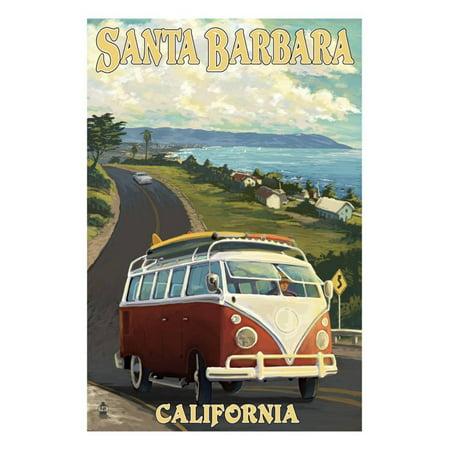 Santa Barbara, California - VW Van Scene Print Wall Art By Lantern Press