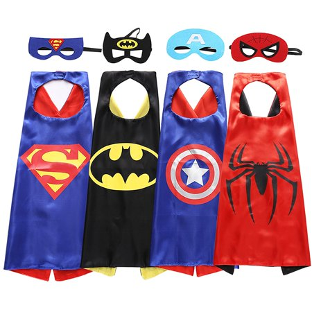 【Best Gift f】Superhero Dress Up Costumes Capes and Masks 4Pcs Set For Toddlers Kids Boys Holiday Birthday