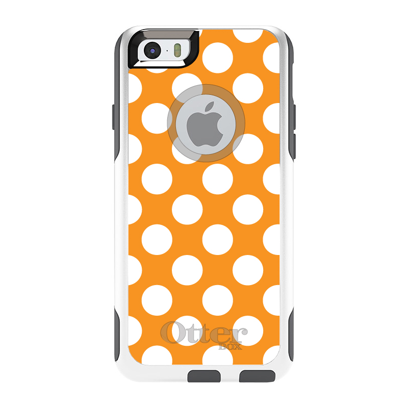 "DistinctInk™ Custom White / Grey OtterBox Commuter Series Case for Apple iPhone 6 / 6S (4.7"" Screen) - White & Orange Polka Dots"