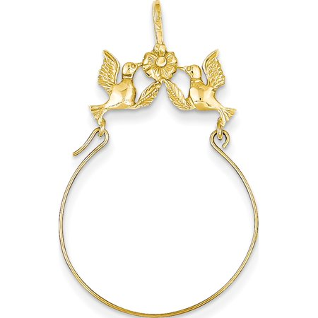 14k Yellow Gold Polished Doves & Bow Holder (20x35mm) Pendant / Charm