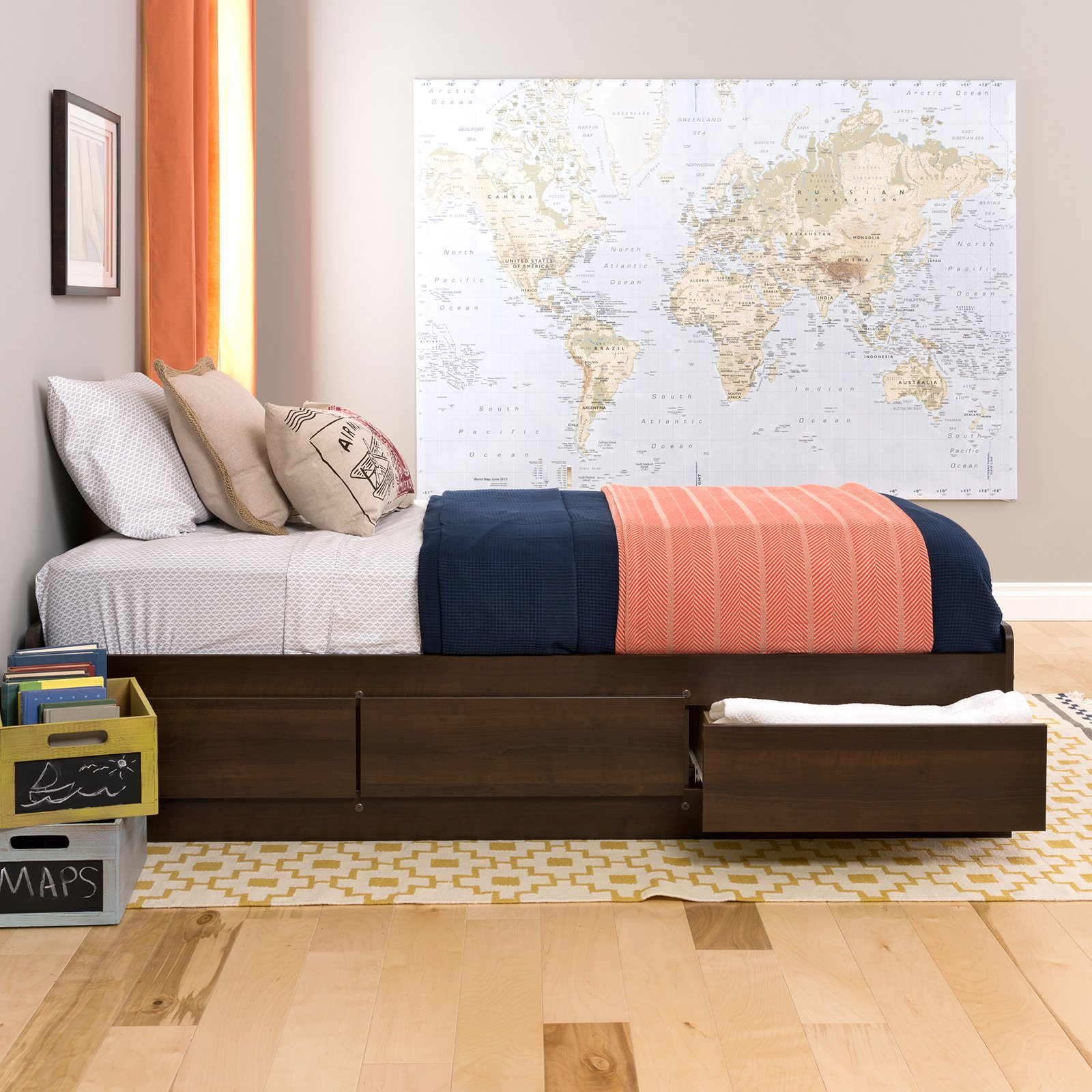 Edenvale Twin Platform Storage Bed, Espresso (Box 1 of 2) by Prepac