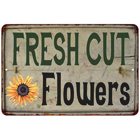Cut Flowers Vintage Look Garden Chic 8x22 Metal Sign 208120020047 ()