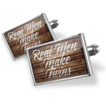 Cufflinks Painted Wood Real Men Make Twins - NEONBLOND
