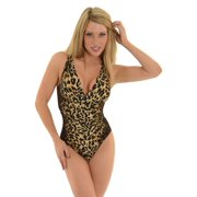 Womens Miraclesuit Swimwear 1 Piece Bathing Suit Slimming Brown Leopard Print