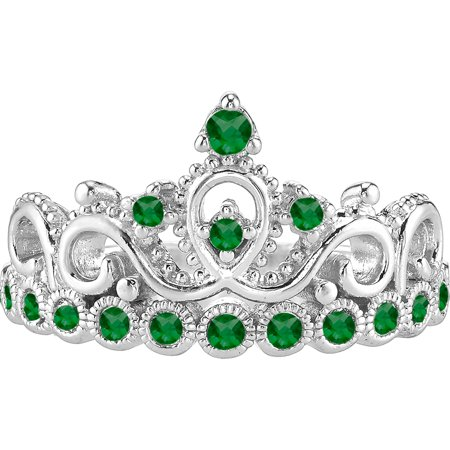 14K White Gold Emerald Crown Ring (May) (6.5)