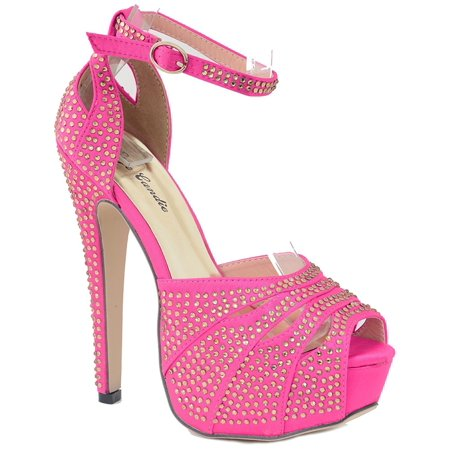 - Platform Sandals Studded Peep Toe Cutout High Heel Dress Shoes Pink Women's - 9