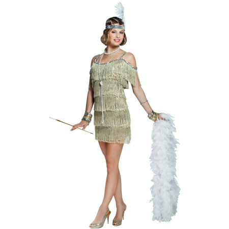 Regular and Plus Size Champagne Flapper Costume (Champagne Costume)
