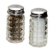 Retro Style Salt and Pepper Shakers with Stainless Tops (2)