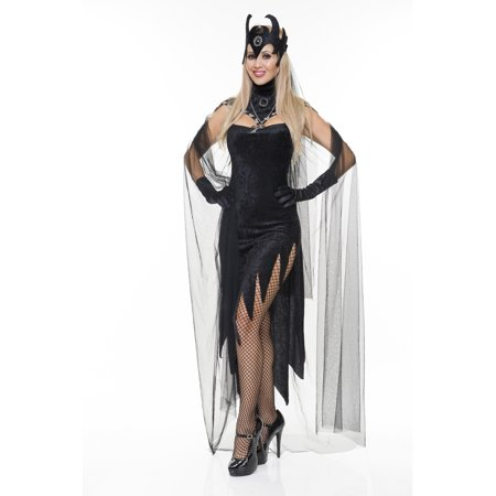 Womens  Black Queen Evil Velvet Sorceress Adults Costume Dress](Evil Queen Makeup)