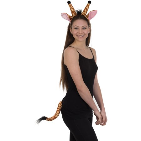 Velvet Giraffe Ears Headband and Tail Costume Accessory - Lion Tail And Ears Set