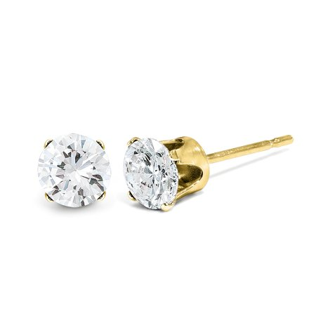 - 14kt Yellow Gold .05ct. I2 K L Diamond Stud Push On Post Earrings Ball Button St Type Fine Jewelry Ideal Gifts For Women Gift Set From Heart