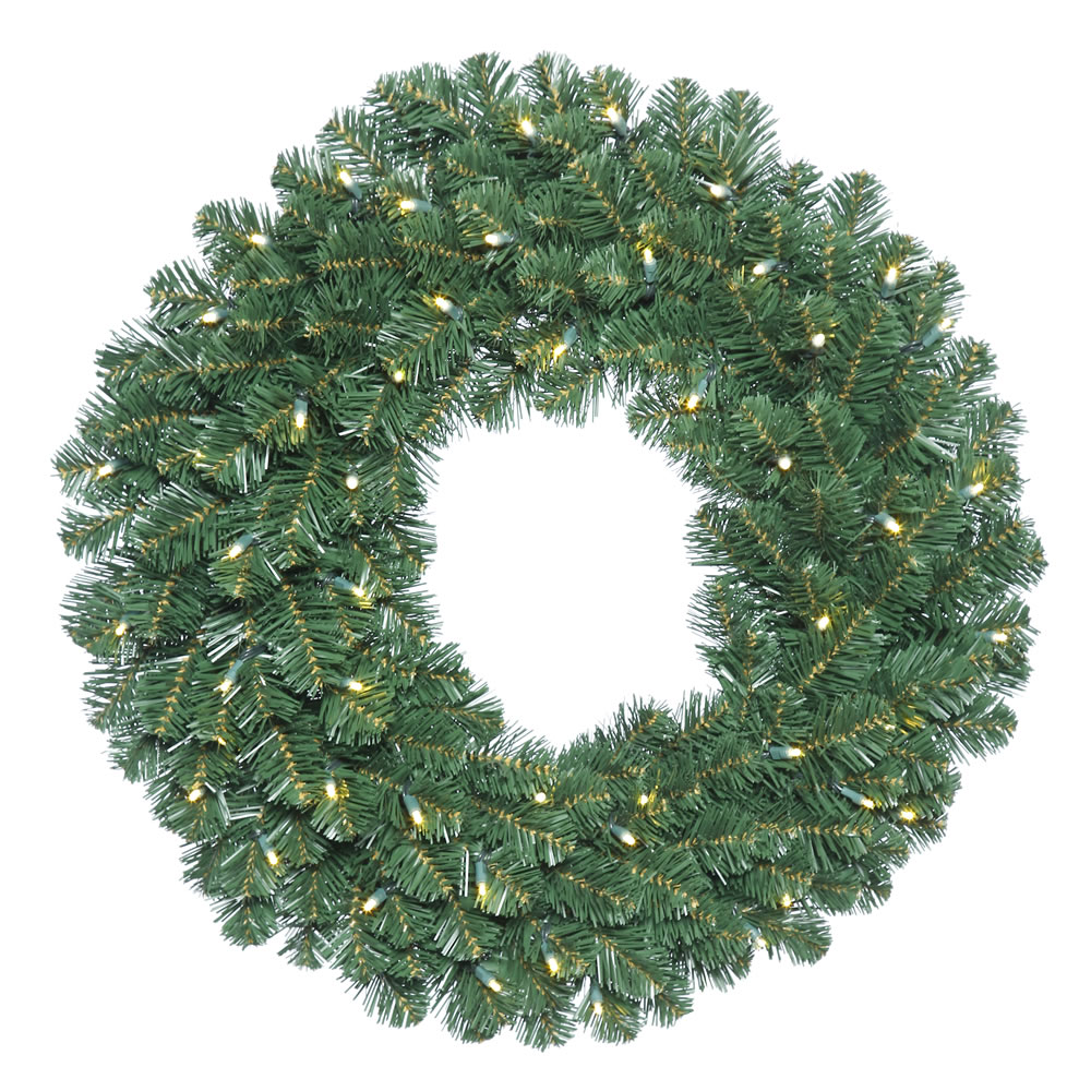 "24"" Pre-Lit Oregon Fir Artificial Christmas Wreath - Clear Dura-Lit Lights"