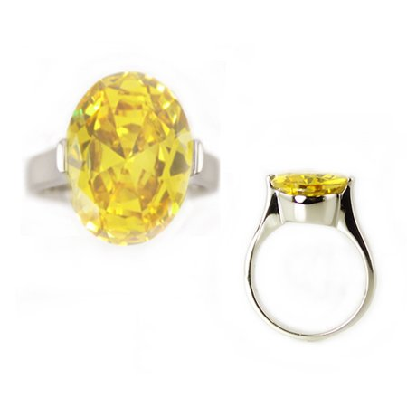 Stainless Steel Opal Cut Topaz Color Cubic Zirconia Solitaire Engagement Ring Created Citrine Stainless Steel Ring