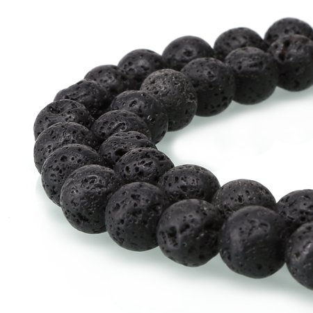 BRCbeads Black Lava Gemstone Loose Beads Well Polished Round 10mm 15.5 Inch Energy Stone Healing Power for Jewelry Making Cabochons Loose Gemstones Jewelry