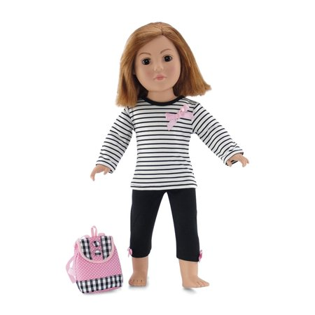 18 Inch Doll Clothes | Pink, Black and White Back to School Outfit with Long Sleeved T-Shirt, Leggings and Backpack | Fits American Girl - School Spirit Outfits