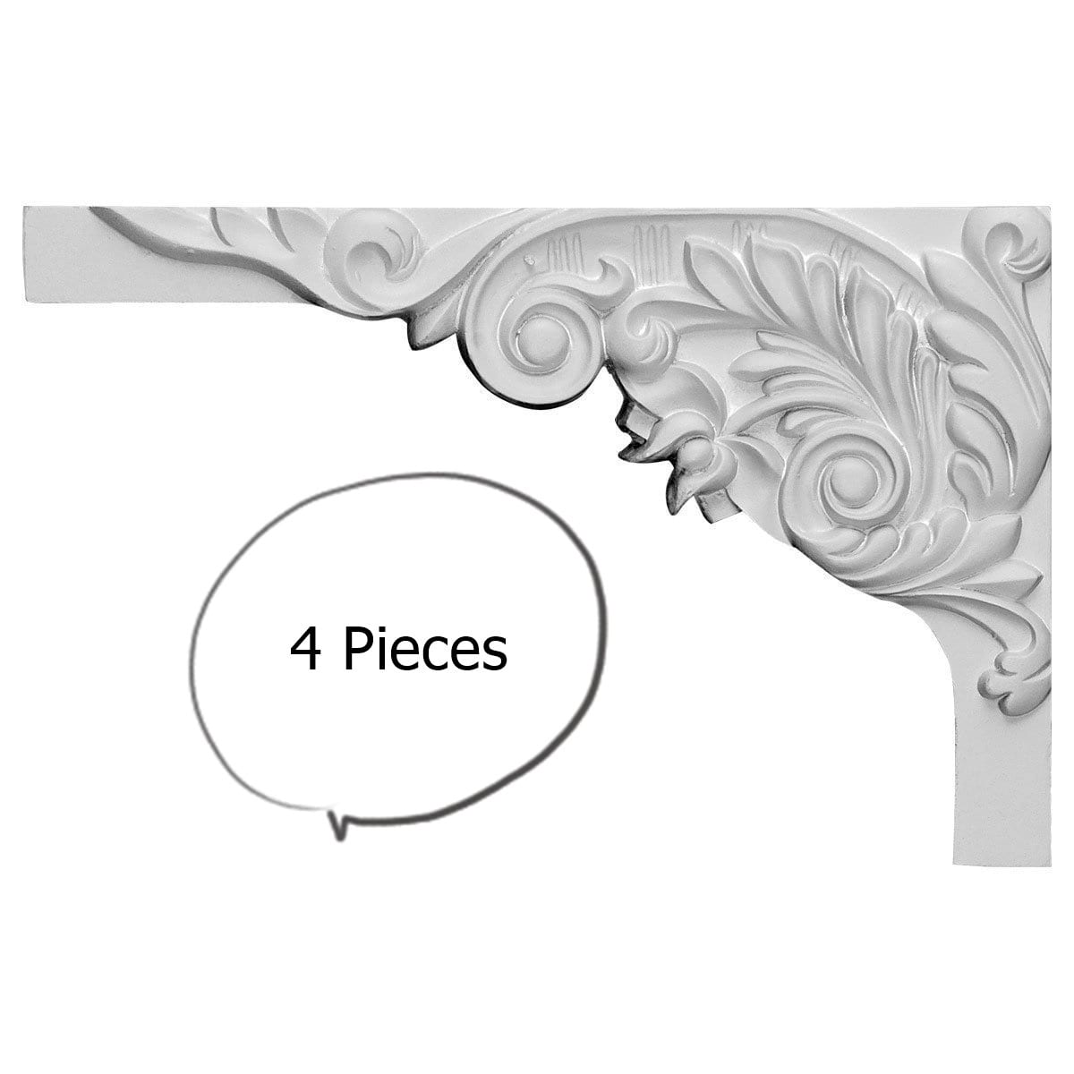 China by WI Acanthus Stair Brackets Left 4-pieces