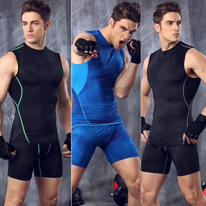 Men's Sports Fit Compression Stretch Vest Tee Shirt Trainning Tight GYM Base Layer Tops Tank Athletic Sportwear by