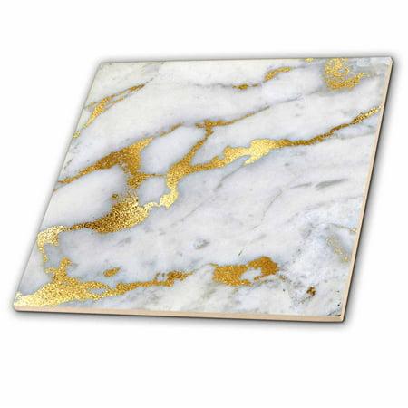 3dRose Image of Luxury Grey Gold Gem Stone Marble Glitter Metallic Faux Print - Ceramic Tile, 12-inch
