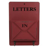 Fugacal Wood Mail Box Letter Rack Key Holder Wall Storage Creative Home Decoration with Hook Hanger,Letter Rack, Letter Racks