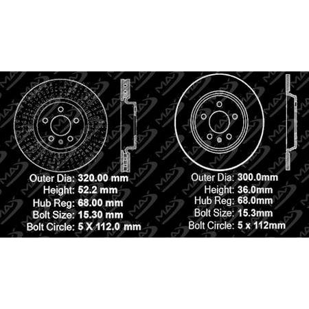 Max Brakes Front & Rear Premium Brake Kit [ OE Series Rotors + Ceramic Pads ] KT171343 | Fits 2012 2013 2014 Audi A4 A5 - image 5 de 8
