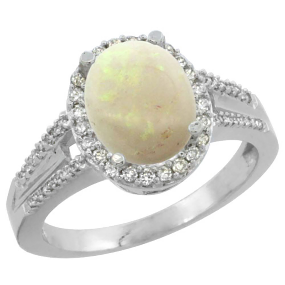 14K White Gold Natural Opal Ring Oval 10x8mm Diamond Accent, sizes 5-10