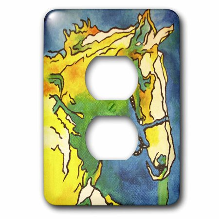 3dRose Horse and Bridle - bridle, equestrian, equestrianism, headstall, horse, horse owner, horse riding - 2 Plug Outlet Cover (lsp_46773_6) Equestrian Riding Gear